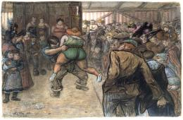 Heinrich Zille, Ringkampf  in der Schaubude, 1903, schwarze Kreide und Aquarell © Privatsammlung Berlin