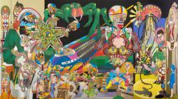 Keiichi Tanaami: Space Walking, 2018. Cut digital canvas print, ink, color pencil, acrylic paint, old magazine scrap on canvas, 220 × 400 cm; © Keiichi Tanaami, Courtesy of the artist and Nanzuka