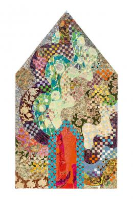Miriam Schapiro: Dormer, 1979. Acryl, Textilien, Papier auf Leinwand, 178,5 x 102 cm; Photo: Carl Brunn / Ludwig Forum für Internationale Kunst Aachen. © Estate of Miriam Schapiro / Bildrecht Wien, 2019