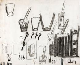 El Anatsui: Drawing 6, undated. Graphite on paper, 20.5 x 24.9 inches; Collection of the Artist, Nsukka, Nigeria. © El Anatsui; Courtesy of the artist and Jack Shainman Gallery, New York