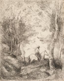 Jean-Baptiste Camille Corot: Le Grand Cavalier sous bois (Der große Reiter im Wald), 1854 (Abzug 1911/1913). Salzpapier, Cliché-verre; Münchner Stadtmuseum, Sammlung Fotografie
