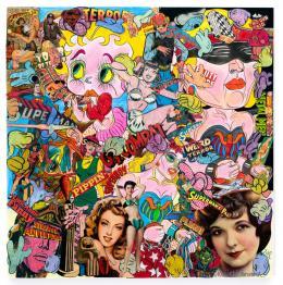 Keiichi Tanaami: Waking Nude Figure, 2018. Cut digital canvas print, ink, color pencil, acrylic paint, old magazine scrap on canvas, 100 x 100 cm; © Keiichi Tanaami, Courtesy of the artist and Nanzuka