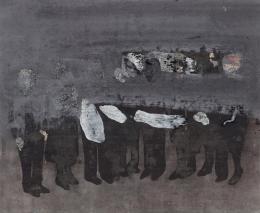 Friedrich Einhoff: Figurengruppe, 2008. Acryl, Kohle und Sand auf Leinwand, 490 x 595 mm; Hamburger Kunsthalle, Kupferstichkabinett / bpk © LEVY Galerie. Foto: Dirk Masbaum