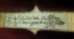 Jakob Stainer, Geigenzettel der Violine Absam 1682; TLMF Musiksammlung Inv. Nr. M/I 230  © TLM