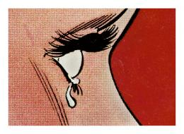 Anne Collier: Woman Crying (Comic) #3, aus der Serie Women Crying, 2018. © Anne Collier; Courtesy of the artist; Anton Kern Gallery, New York; Galerie Neu, Berlin; and The Modern Institute/Toby Webster Ltd., Glasgow