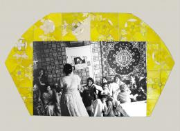 Nil Yalter: Algerian Marriage in France, 1982 (Detail). 6 Tafeln: Bleistift und Öl auf Papier; Detail: Fotografie, Bleistift und Öl auf Papier 61,8 x 81,8 cm. © Nil Yalter; Foto: Galerie Hubert Winter, Wien