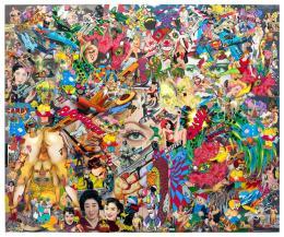 Keiichi Tanaami: Desire of Eye, 2018. Cut digital canvas print, ink, color pencil, acrylic paint, old magazine scrap on canvas, 167 x 200 cm; © Keiichi Tanaami, Courtesy of the artist and Nanzuka