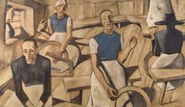 Albin Egger-Lienz, Kriegsfrauen, 1918-1922; 142 x 247 cm, Öl über Tempera auf Leinwand  © Lienz, Museum Schloss Bruck, Foto: Martin Lugger