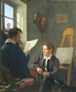 Hermann Kauffmann d.Ä. (1808– 1889): Hermann Kauffmann und Georg Haeselich in Kauffmanns Münchner Atelier, 1830. Öl auf Leinwand, 52,5 x 45,3 cm; © Hamburger Kunsthalle / bpk Foto: Elke Walford