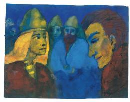 Emil Nolde: Herrin und Fremdling, o. D. (wahrscheinlich Vorlage für das Gemälde Nordische Menschen, 1938). Aquarell, 17,1 × 22,5 cm; Nolde Stiftung Seebüll. © Nolde Stiftung Seebüll; Foto: Dirk Dunkelberg, Berlin