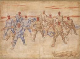 Albin Egger-Lienz, Der Krieg, 1915/1916; 172 x 232 cm, Tempera auf Leinwand  © Lienz, Museum Schloss Bruck, Foto: Vaverka