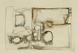 No title, 1961 Ink on paper 6 ¹∕₁₆ × 9 in., 15.4 × 22.9 cm Allen Memorial Art Museum, Oberlin College, Oberlin, OH. Anonymous Gift to the Eva Hesse Archives, 1982.105.12 © The Estate of Eva Hesse. Courtesy Hauser & Wirth