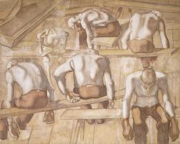 Albin Egger-Lienz, Die Alten, 1914; 205 x 258 cm, Kasein auf Leinwand  © Lienz, Museum Schloss Bruck, Foto: Vaverka