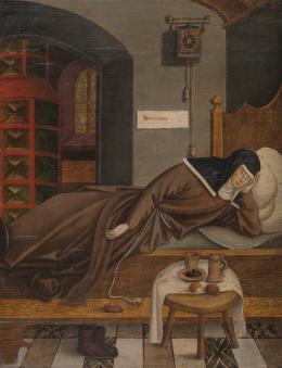 Umkreis des Bernhard Strigel, Eine Nonne, schlafend, Allgäu, um 1500, Tafelgemälde, Eichenholz Germanisches Nationalmuseum, Nürnberg, Inv.-Nr. Gm 576 © Germanisches Nationalmuseum, Nürnberg. Foto: G. Janssen