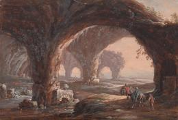 Wutky, Michael Höhlenlandschaft, um 1780 Aquarell TLM, Ältere Kunstgeschichtliche Sammlungen Inv.-Nr. Gem/1871  © TLM
