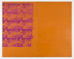 "Andy Warhol, ""Orange Car Crash"", 1963, Acryl, Siebdruck auf Leinwand / Acrylic, Gesamt 334.1 x 418.4 x 4.4 cm, mumok - Museum moderner Kunst Stiftung Ludwig Wien, Leihgabe der Sammlung Ludwig, Aachen seit 1978, Aachen seit 1978 © The Andy Warhol Foundation for the Visual Arts, New York/Licensed by Bildrecht, Wien 2020"