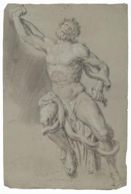 Denifle, Johann Peter Laokoon, ca. 1770 – 1772 Pinsel in Grau über schwarzem Stift, weiß gehöht, auf Papier TLM, Graphische Sammlung Inv.-Nr. TBar/2469  © TLM