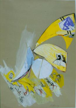 No title, 1964 Collage, gouache, watercolor, color pencil, and graphite on paper 18 ¹∕₁₆ × 12 ¾ in., 45.9 × 32.4 cm Allen Memorial Art Museum, Oberlin College, Oberlin, OH. Gift of Helen Hesse Charash, 1983.106.4 © The Estate of Eva Hesse. Courtesy Hauser & Wirth