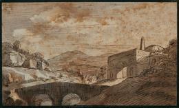 Johann Wolfgang von Goethe Italienische Landschaft, o. J. Tusche laviert, Tinte 23,3 x 34,8 cm Salzburg Museum Inv.-Nr. 1365-49  © Salzburg Museum