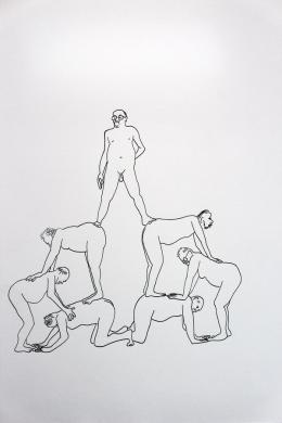 Peter Wehinger, Aus der Serie 'Herrenpyramiden', Zeichnung, Tusche auf Papier © Peter Wehinger