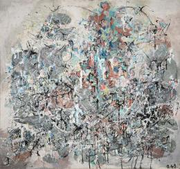 Oswald Oberhuber, Tachistische Komposition, 1949, Öl auf Leinwand  © TLM