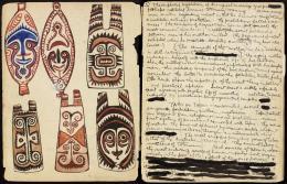 Totem-und-Tabu-Skizzenbuch , 1922–1926 23 × 18,1 cm (36,2 cm) © Courtesy Len Lye Foundation Collection, Govett-Brewster Art Gallery/Len Lye Centre