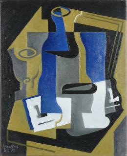 Juan Gris, Carafe, verre et journal, 1919 40 x 33 cm Öl auf Leinwand / Oil on canvas mumok - Museum moderner Kunst Stiftung Ludwig Wien, Schenkung / donation Emanuel und / and Sofie Fohn, 1994 © mumok – Museum moderner Kunst Stiftung Ludwig Wien