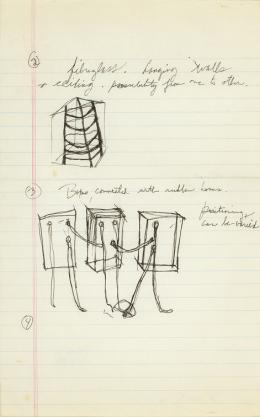 No title, 1970 ink and graphite on ruled notebook paper 12 ¼ × 8 in., 31.1 × 20.3 cm Allen Memorial Art Museum, Oberlin College, Oberlin, OH. Gift of Helen Hesse Charash, 1977.52.23 © The Estate of Eva Hesse. Courtesy Hauser & Wirth