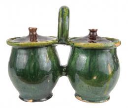 Doppeltöpfe mit Deckeln (Zwillingsgefäß), Glasierte Keramik Sopron (Ungarn); um 1890, NHM/53.774. Foto: Christa Knott © Volkskundemuseum Wien
