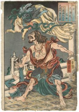 """Utagawa Kuniyoshi, """"Das Mädchen: die böse Füchsin Kayō und der indische Prinz"""" aus der Serie Japanisch-chinesische Vergleiche zum Genji-Roman, 1855 © MAK/Georg Mayer"""