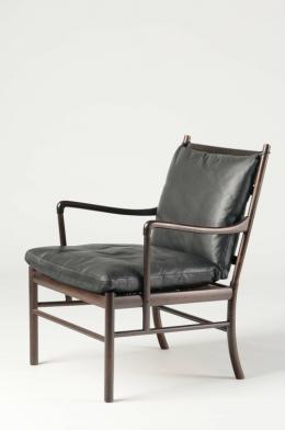 Ole Wanscher, Armlehnsessel, Modell Nr. PJ 149, Kopenhagen, 1949 Palisander, massiv; Rohrgeflecht (Rattan); Polsterung mit Lederbezug © MAK/Nathan Murrell