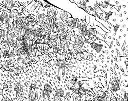 Agathe Pitié: Das Jüngste Gericht, 2019, Detail: Die Hand Gottes, Heilige, Herkules mit Zerberus am Eingang der Unterwelt Tusche auf Papier, Courtesy Galerie Michel Soskine, Madrid © Agathe Pitié, Foto: Thomas Celaries