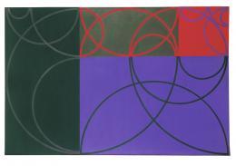 Max Bill 1908–1994: magische chromographie, 1944/1946. Öl auf Leinwand, 72 × 108 cm; Kunst Museum Winterthur. Photo: SIK-ISEA, Lutz Hartmann, Zürich; © 2019, ProLitteris, Zurich