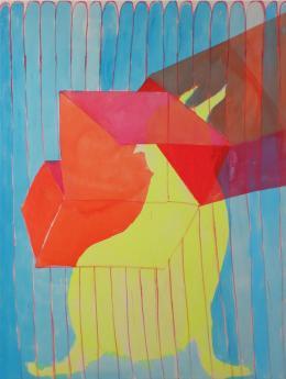 Sara Gassmann, Prisma, 2019. Acryl und Tusche auf Baumwolle, 200 x 150 cm; Courtesy of the artist