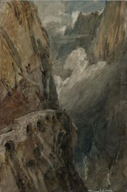 Joseph Mallord William Turner, The Schollenen Gorge from the Devil's Bridge. Pass of St Gotthard, 1802, Graphit, Aquarell und Gouache auf Papier, 47 x 31.4 cm, Tate, accepted by the nation as part of the Turner Bequest 1856, © Tate, London, 2018