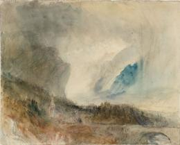 Joseph Mallord William Turner, Storm in the St Gotthard Pass. The First Bridge above Altdorf: Sample Study, ca.1844/45, Bleistift, Aquarell und Tusche auf Papier, 23.9 x 29.7 cm, Accepted by the nation as part of the Turner Bequest 1856, © Tate, London, 2018