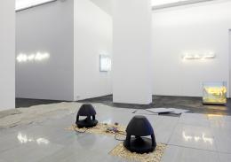 Haroon Mirza, A Platform for Breathing, 2019, Granit von Mattia Bosco, LEDs, modifiziertes Mediengerät, Lautsprecher, Pflanzen, Kalksplitt ca. 6 x 400 x 500 cm