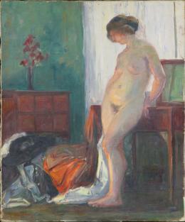 "Martha Haffter, ""Akt im Badezimmer"", ohne Jahr, Öl auf Leinwand, 67 x 56.5 cm, Kunstmuseum Thurgau."