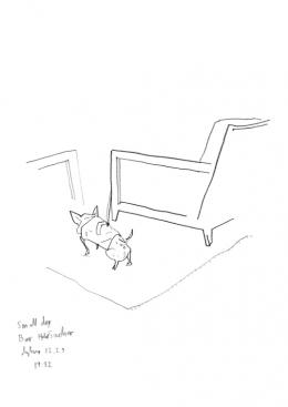 Per Dybvig, Small Dog Bar Hotel Sacher 12.2.19, 2019, Bleistift auf Papier, ca. 21 x 29,7 cm, courtesy of the artist & Christine König Galerie & Galleri Opdahl