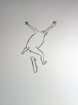 Peter Wehinger, Aus der Serie 'Loard of the Board', Zeichnung, Tusche auf Papier © Peter Wehinger