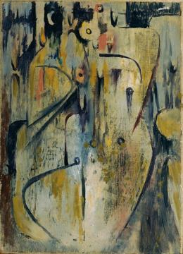 """Wolfgang Paalen, """"El Velorio"""", 1946 © Belvedere, Wien Öl auf Leinwand/oil on canvas, 33,4 x 24,1 cm, Belvedere, Wien, Inv. 8864"""