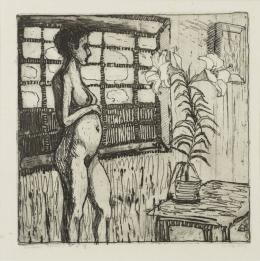 "Helen Dahm, ""Atelier"", um 1910, Radierung, 20 x 20 cm, Kunstmuseum Thurgau"