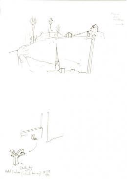 Per Dybvig, Hotel Sacher 13.2.19, 2019, Bleistift auf Papier, ca. 21 x 29,7 cm, courtesy of the artist & Christine König Galerie & Galleri Opdahl