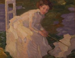 Leo Putz, Sitzendes Mädchen in weißem Kleid mit weißem Sonnenschirm, 1906, Öl und Tempera auf textilem Bildträger  © TLM