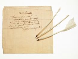 Gänsekielfedern aus dem Besitz von Alexander von Humboldt mit einer Widmung von Johannes Seifert an Moritz Levinson; Johannes Seifert, 13. Februar 1861 (Datierung). © Deutsches Historisches Museum/ S. Ahlers