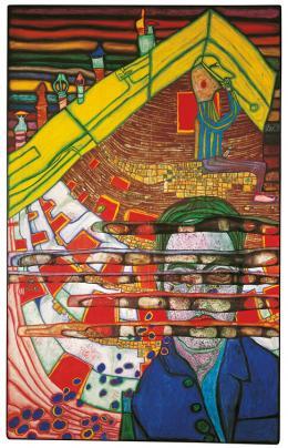 Friedensreich Hundertwasser, 622 Der Nasenbohrer und die Beweinung Egon Schieles, Lugano, 1965 © Privatstiftung Wien Foto: 2019 Namida AG, Glarus, Schweiz © 2019 Namida AG, Glarus, Schweiz