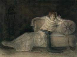 Alfred Kubin, Der Schwindsüchtige, um 1903/04, Aquarell, Tusche, laviert auf Katasterpapier, 31,3 x 39 cm © Eberhard Spangenberg, München / Bildrecht Wien, 2020