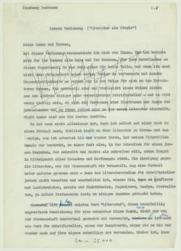 """Ingeborg Bachmann: 5. Frankfurter Poetikvorlesung """"Literatur als Utopie"""", Typoskript zur Vorlesung vom 24. Februar 1960 – © Österreichische Nationalbibliothek"""