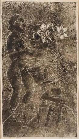 """Helen Dahm, """"Selbstbildnis mit Lilie und Kaktus"""", 1929, Holzschnitt auf Seidenpapier, 29.4 x 17 cm, Kunstmuseum Thurgau"""