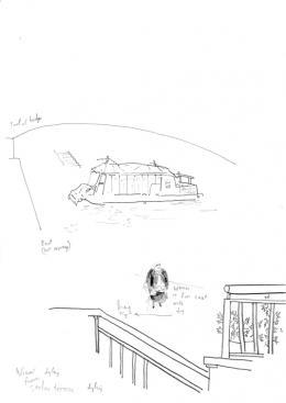 Per Dybvig, View from Sacher Terrasse Sacher, 2019, Bleistift auf Papier, ca. 21 x 29,7 cm, courtesy of the artist & Christine König Galerie & Galleri Opdahl